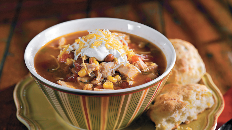 Thanksgiving Menus: Fiesta Turkey Soup With Green Chili Biscuits Recipes