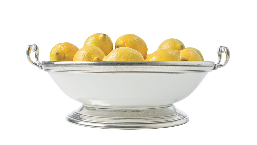 Pewter and Ceramic Fruit Bowl