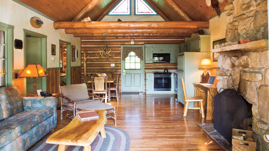 handcrafted furniture inside big cedar lodge cabin