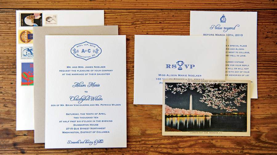 Vintage Blue Invitations