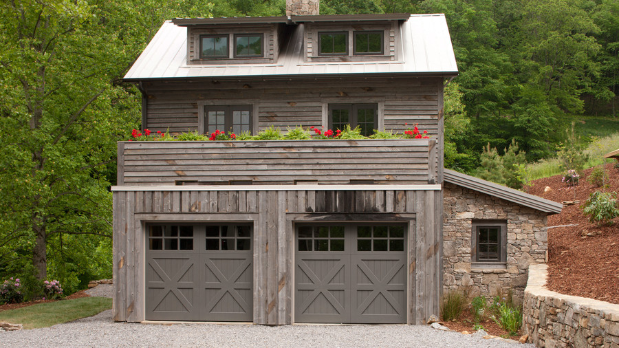 Find a charming wood garage door southern living for Farmhouse garage doors