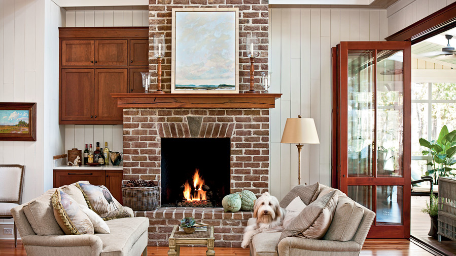 dogtrot hallway fireplace - Decorating Ideas For Living Room With Fireplace