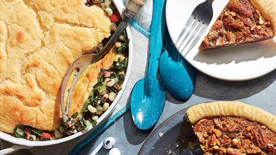 Ham-and-Greens Pot Pie with Cornbread Crust