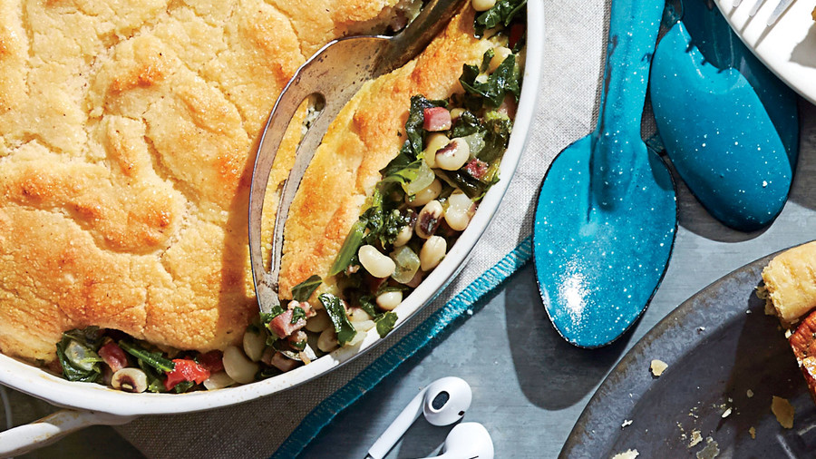Ham-and-Greens Pot Pie with Cornbread Crust (00s)