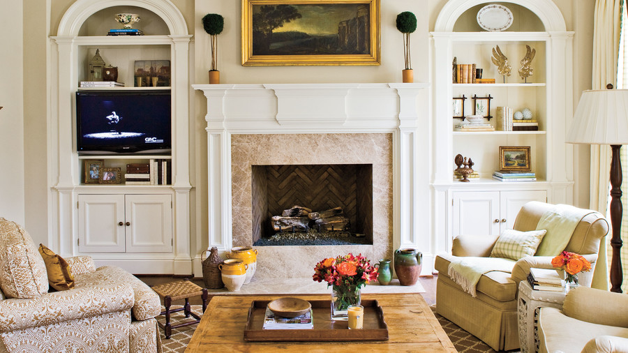 Balanced Fireplace & 25 Cozy Ideas for Fireplace Mantels - Southern Living