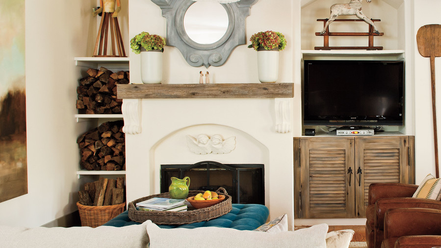 25 cozy ideas for fireplace mantels southern living for European home fireplace
