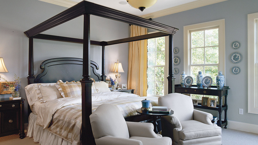 bed in living room. Geometric Greatness Master Bedroom Decorating Ideas  Southern Living