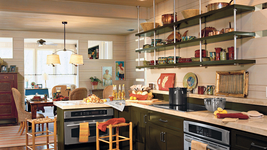 Kitchen with open storage