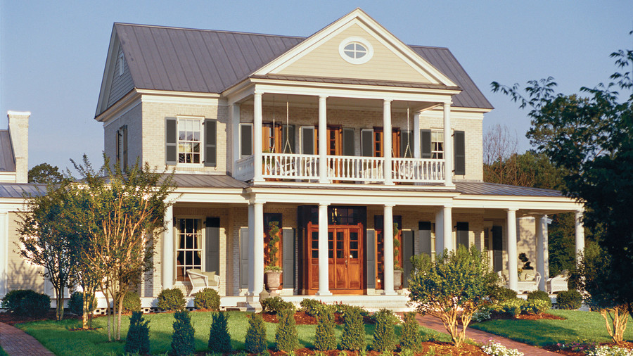 17 house plans with porches southern living for Homes with verandahs all around