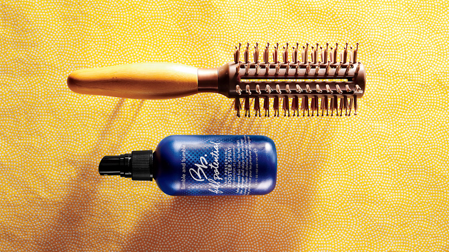 For Maximum Volume: Thickening Spray + Round Brush