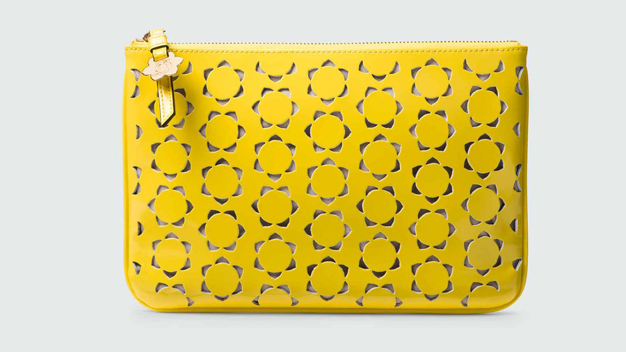 Perforated Pinewood Envelope Clutch