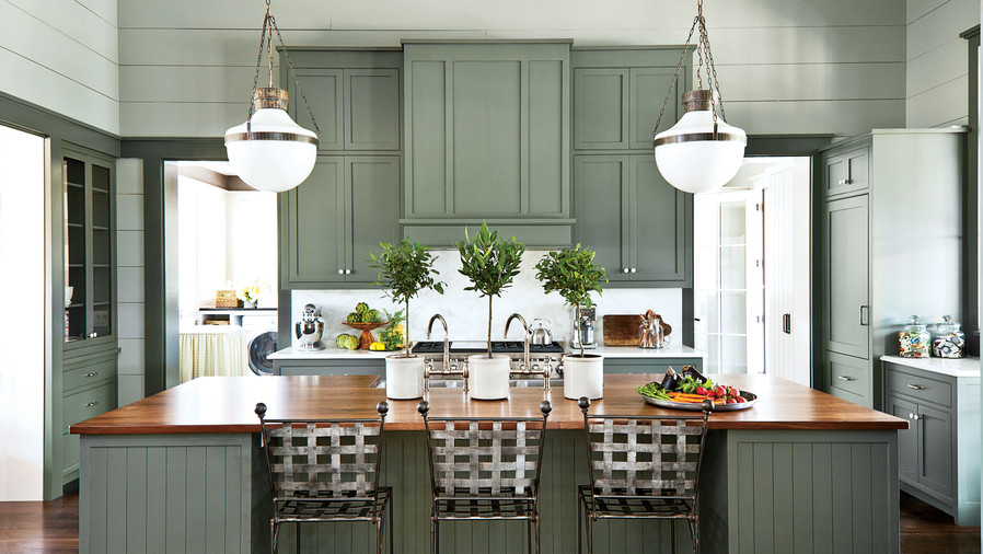 Subtle Green Shiplap Kitchen