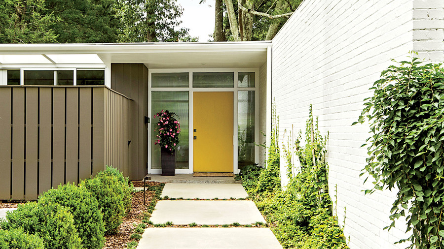 Mid-Century Modern Yellow Front Door & 13 Bold Colors for Your Front Door - Southern Living