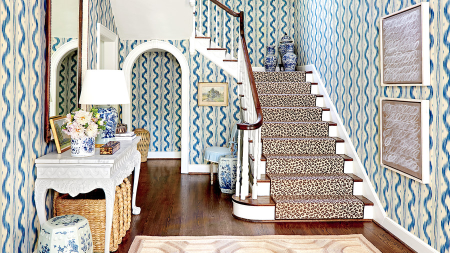 Blue and White Foyer