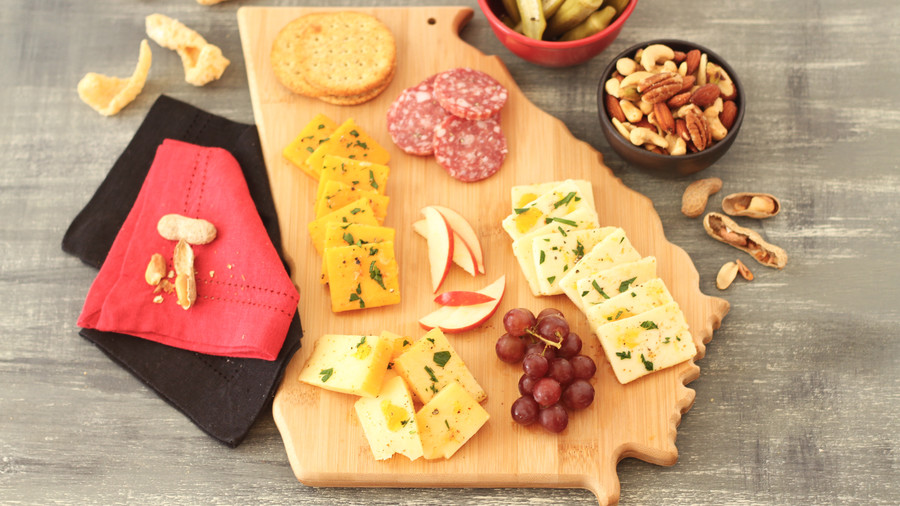 Peach Jezebel Marinated Cheese Board