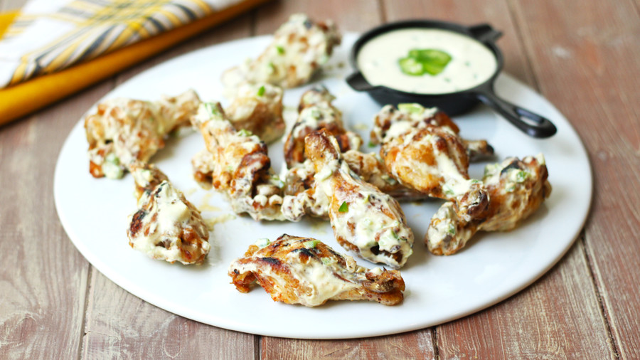 Stinging Hot Wings with Jalapeno-Honey Mustard Sauce