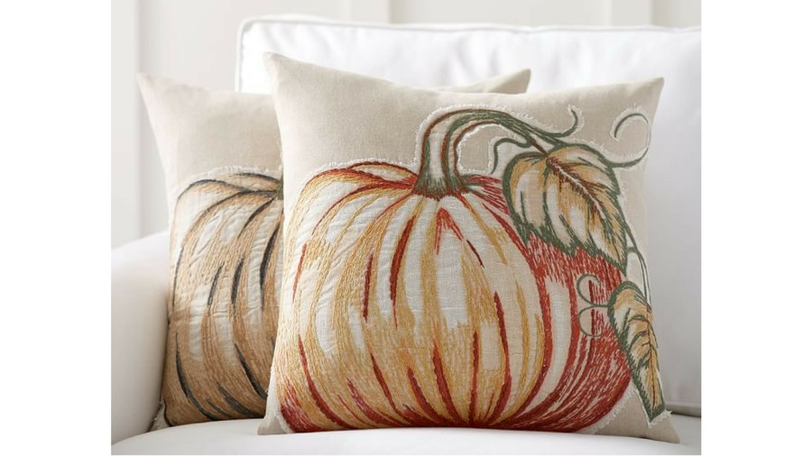 Applique Pumpkin Fall Throw Pillow