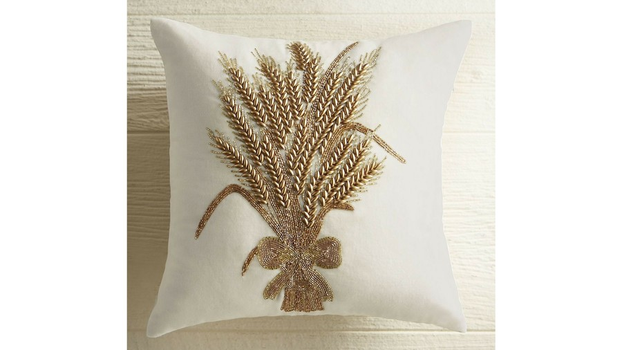 RX_1609 Beaded Golden Wheat Patch Fall Throw Pillow