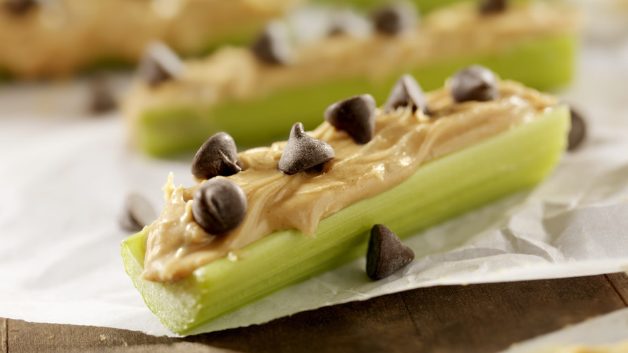 Celery with Peanut Butter and Toppings