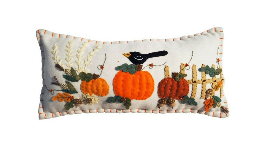 Crow and Pumpkins Fall Throw Pillow