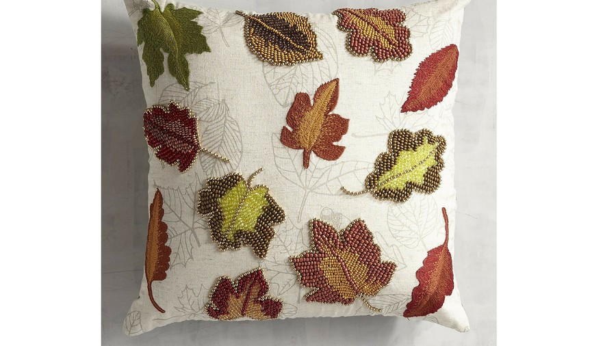 Embroidered and Beaded Fall Leaves Fall Throw Pillow
