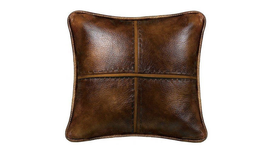 Hill Country Faux-Leather Square Fall Throw Pillow