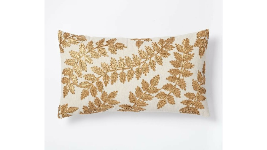 Metallic Laurel Leaves Fall Throw Pillow