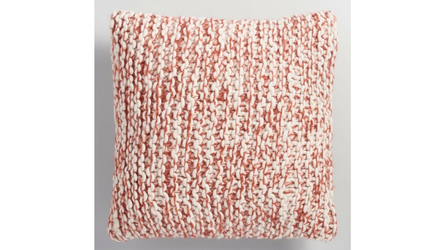 Rust and Ivory Chunky Knit Throw Pillow