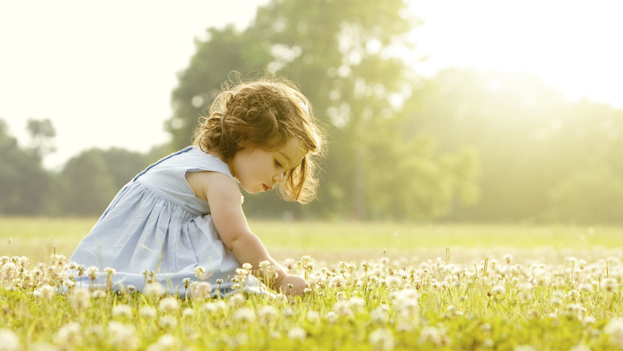 Girl picking flowers in field