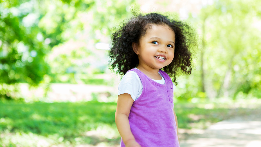 Toddler Girl in Purple Dress