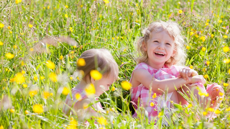 Toddler girls playing in flower field