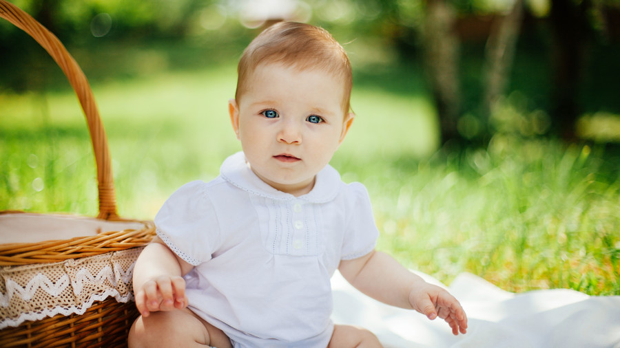 Baby with Picnic Basket