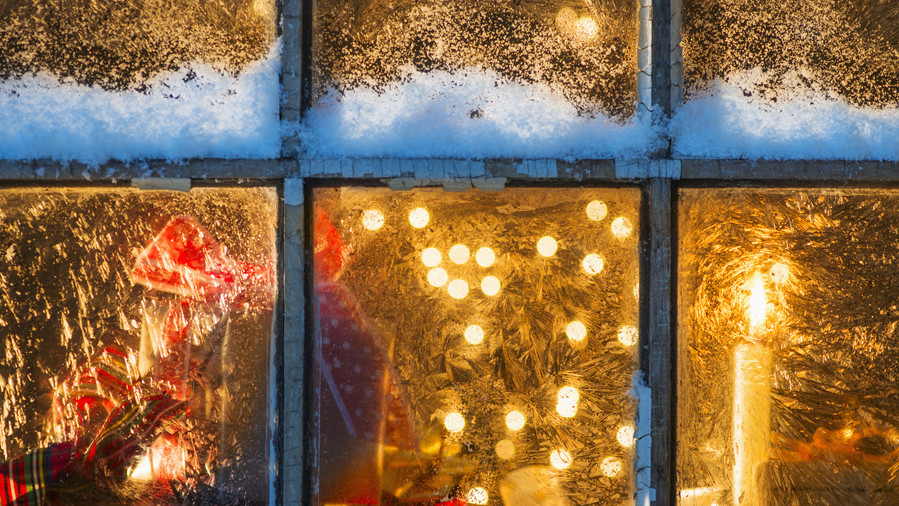 Holiday Window with Christmas Lights