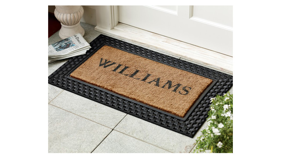 Personalized Basketweave Rubber & Coir Doormat