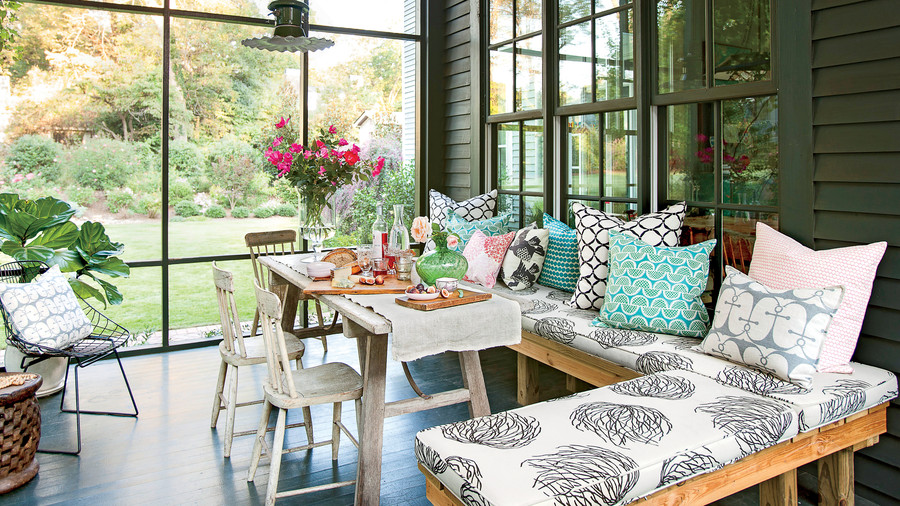 Screened Porch with Wrap Around Bench