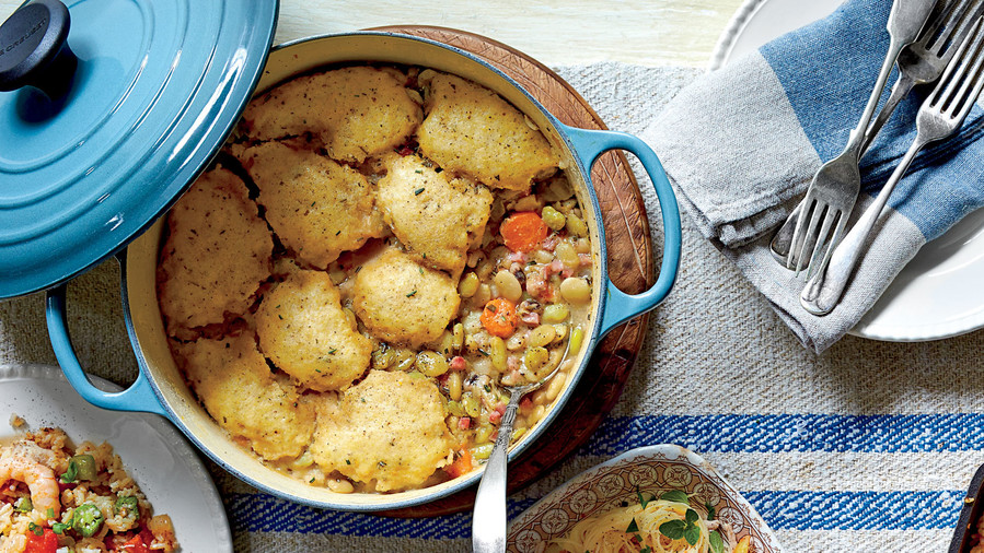Three-Bean Cassoulet with Cornmeal Dumplings