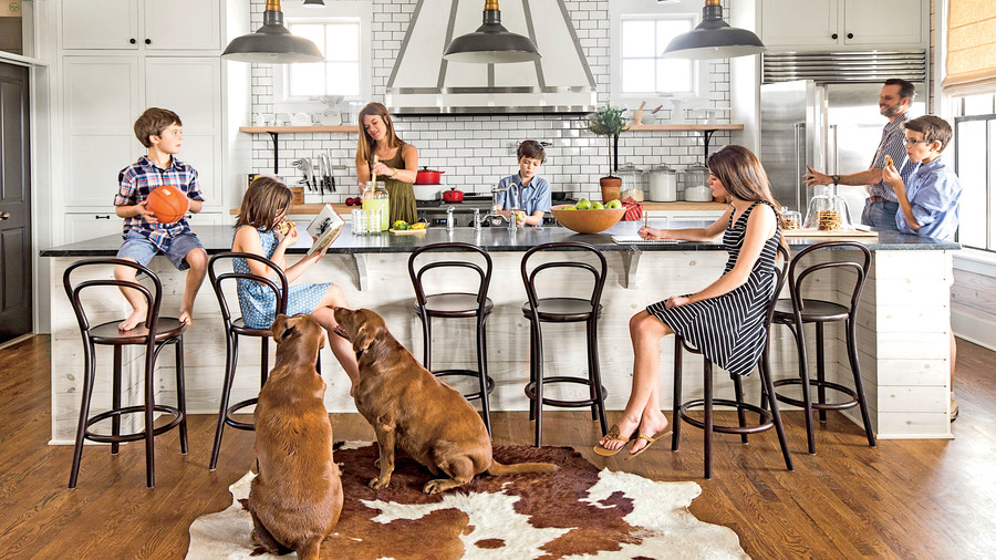 Kitchen with Cowhide Rug and Subway Tiles