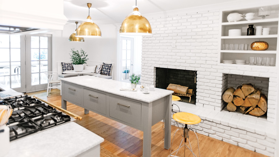 White Kitchen with White Brick Hearth