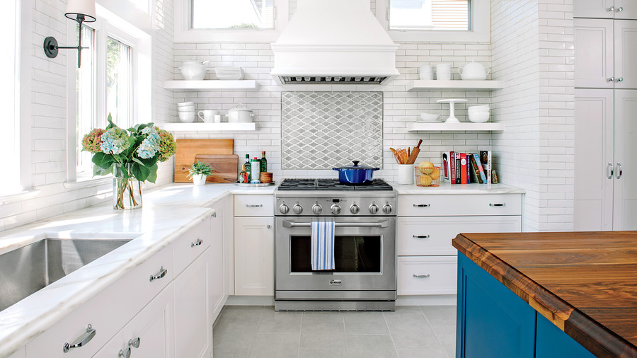 White Kitchen with Wood Countertop Island