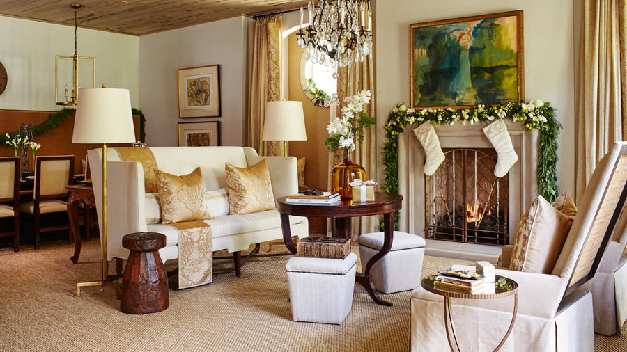 Living Room Couch with Gold Pillows