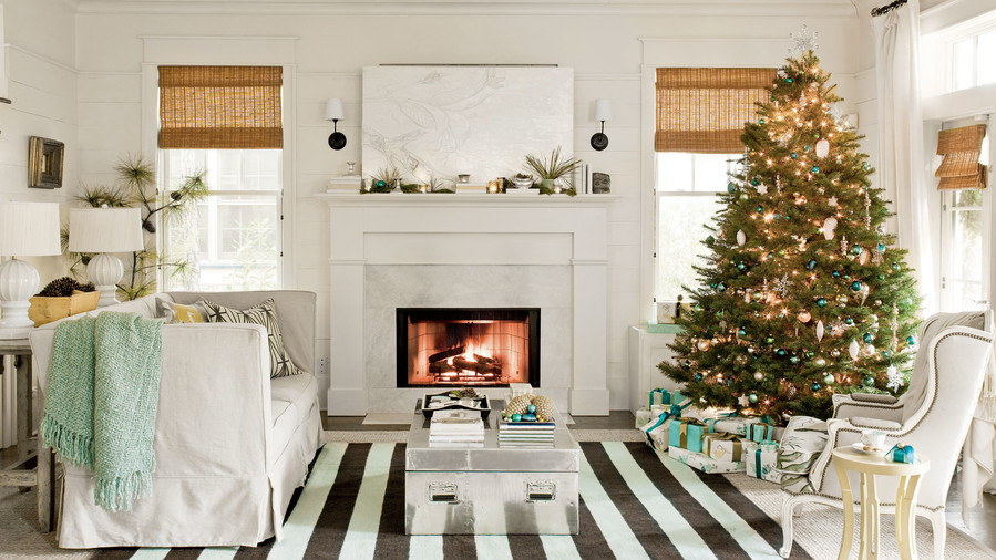 coastal christmas living room