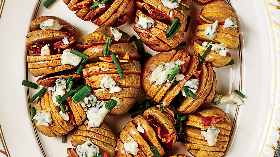 Appetizer Baby Hasselback Potatoes With Blue Cheese And Bacon