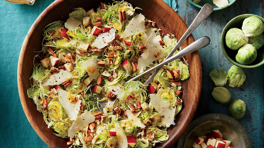 Brussels Sprout Slaw with Apples and Pecans