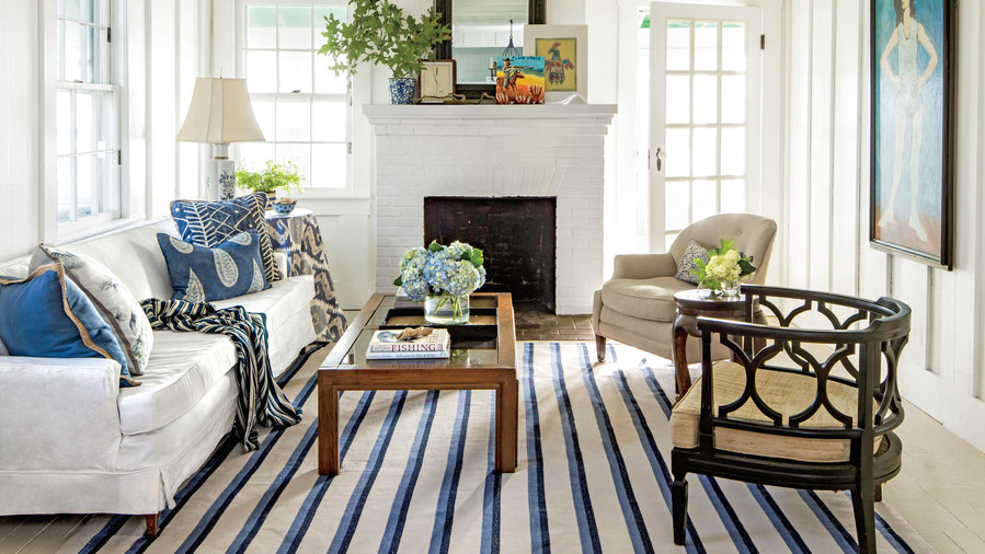 Superior White And Blue Living Room