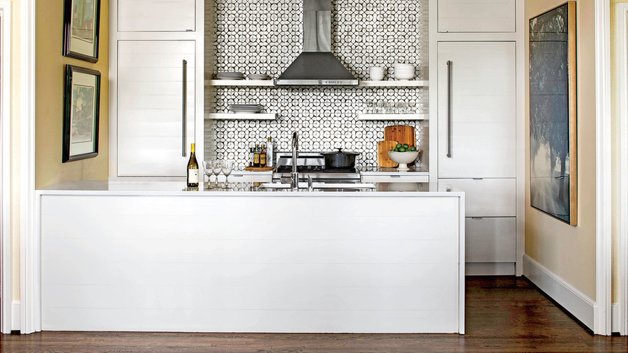 Glossy White Kitchen with Tile Backsplash
