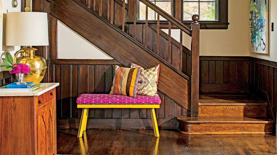 Wood Foyer with Bright Bench