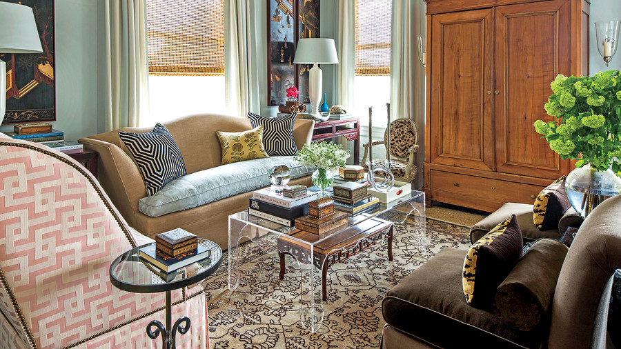 Heavily Patterned Living Room With Neutral Rug
