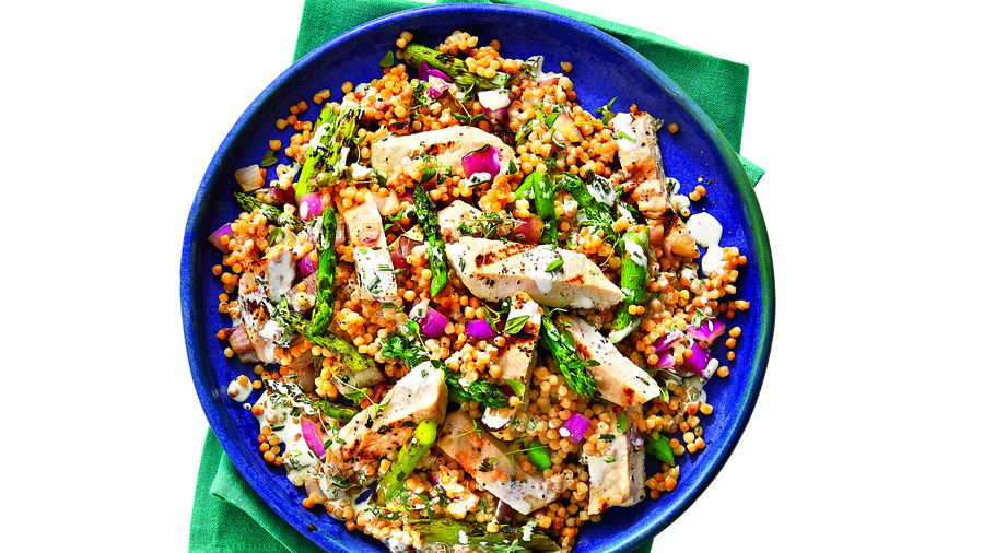 Best Lemon Recipes Grilled Chicken and Toasted Couscous Salad with Lemon-Buttermilk Dressing