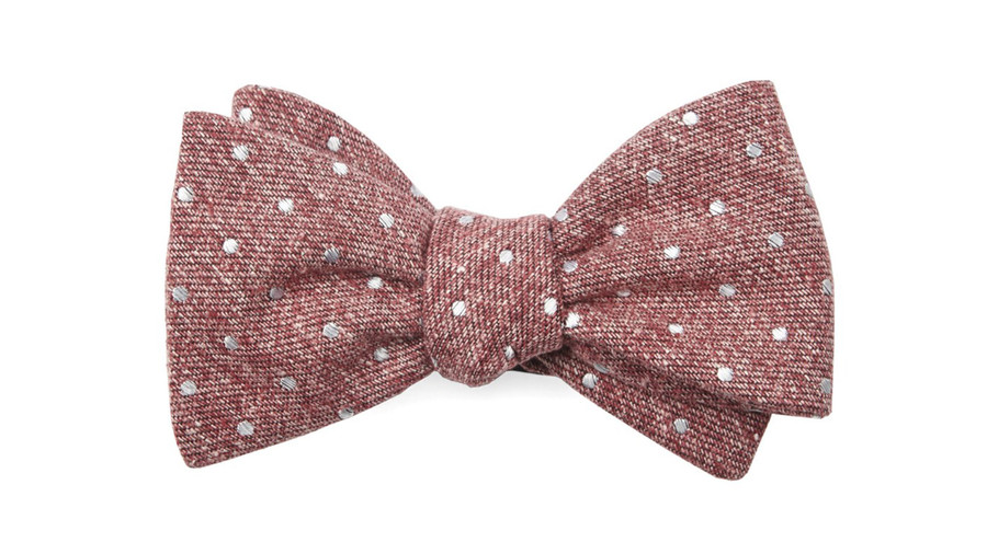 Raspberry Knotted Dots Bow Tie