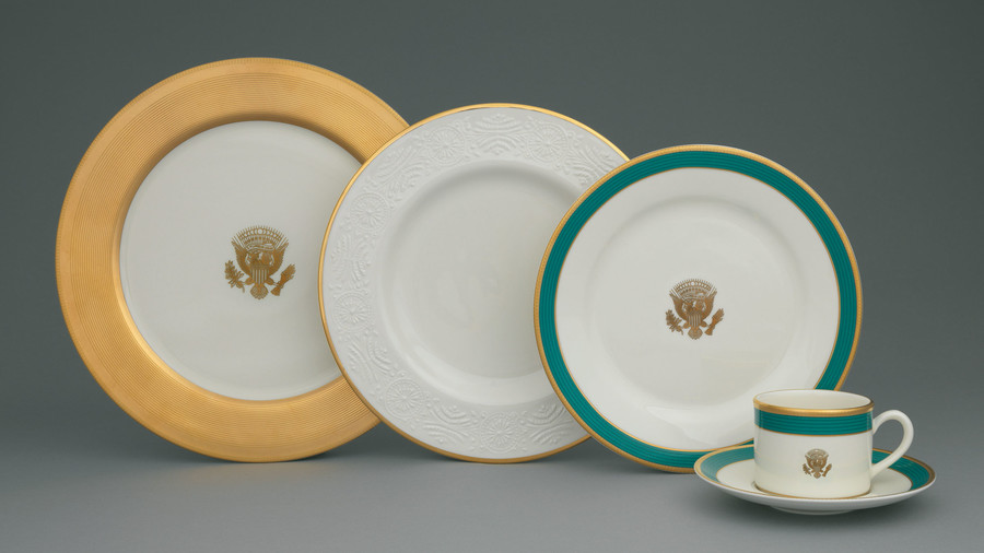 White Blue and Gold Presidential China